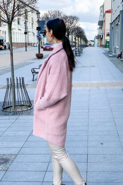 Płaszcz alpaka pudrowy róż 9