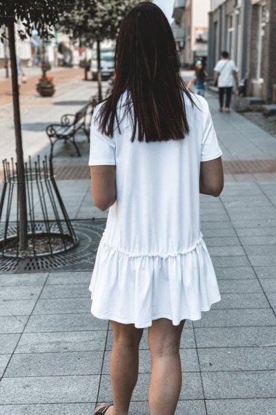 Sukienka Dres Z FALBANKA NA DOLE BIAŁA 2