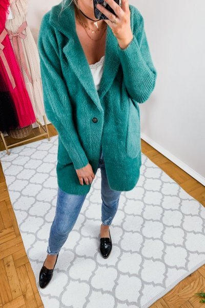 Płaszcz alpaka zielona