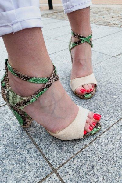 sandały viki beż / wąż zielono- brązowy 1