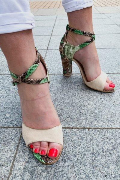 sandały viki beż / wąż zielono- brązowy 4