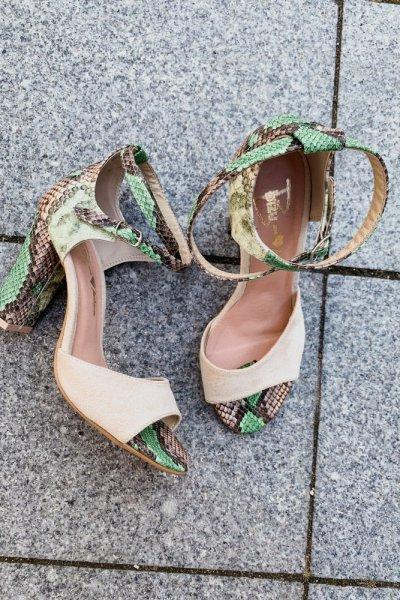 sandały viki beż / wąż zielono- brązowy 6