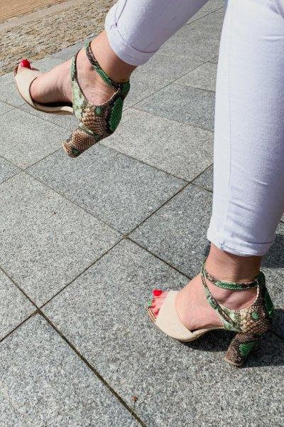sandały viki beż / wąż zielono- brązowy 10