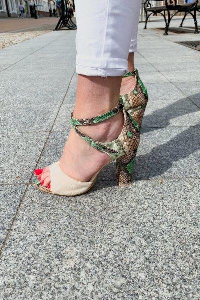 sandały viki beż / wąż zielono- brązowy 11