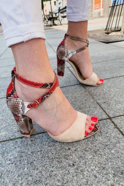 sandały viki beż /wąż czerwony 7