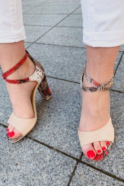 sandały viki beż /wąż czerwony 9