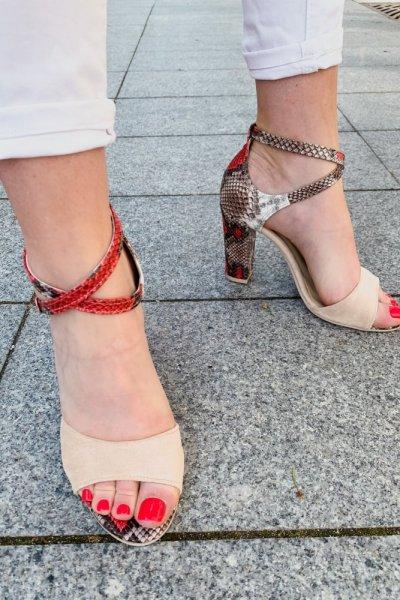 sandały viki beż /wąż czerwony 10