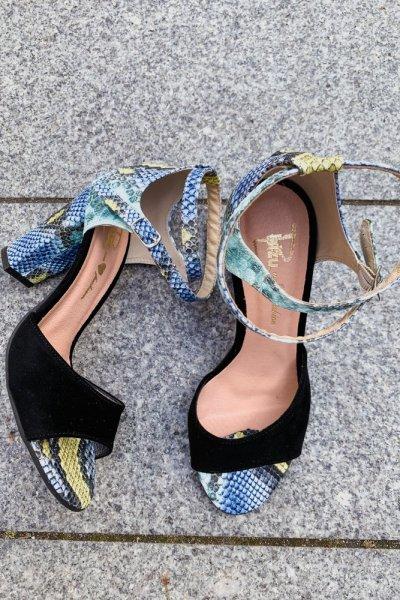 sandały viki czarny/ wąż niebieski