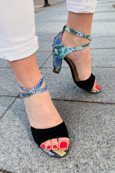 sandały viki czarny/ wąż niebieski 9