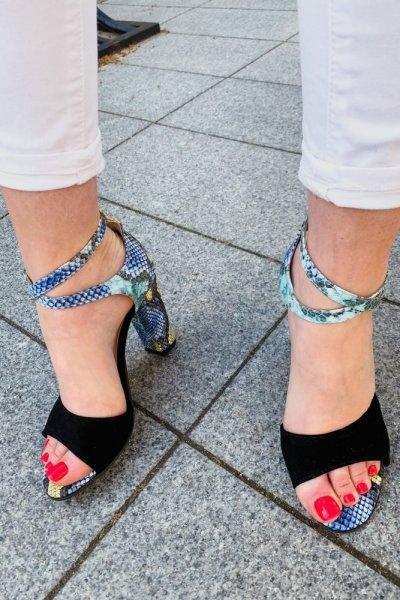 sandały viki czarny/ wąż niebieski 10