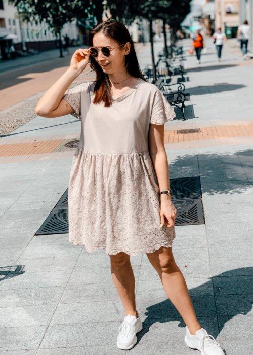 Sukienka beżowa blanca z haftowaniem