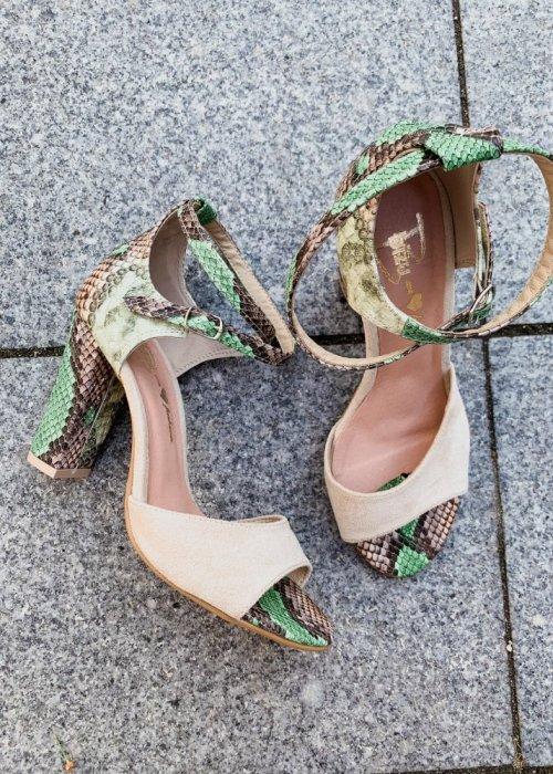 sandały viki beż / wąż zielono- brązowy