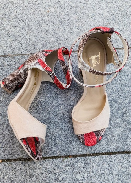 sandały viki beż /wąż czerwony